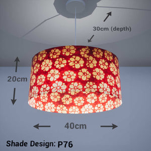 Oval Lamp Shade - P76 - Batik Star Flower Red, 40cm(w) x 20cm(h) x 30cm(d) - Imbue Lighting
