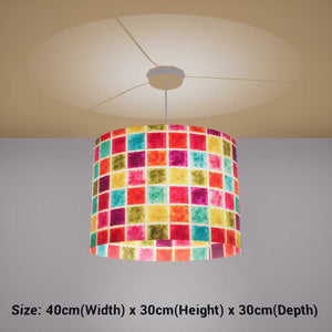 Oval Lamp Shade - P01 - Batik Multi Square, 40cm(w) x 30cm(h) x 30cm(d) - Imbue Lighting