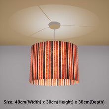 Oval Lamp Shade - P07 - Batik Stripes Brown, 40cm(w) x 30cm(h) x 30cm(d)