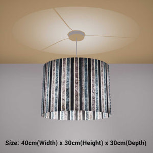 Oval Lamp Shade - P08 - Batik Stripes Grey, 40cm(w) x 30cm(h) x 30cm(d)