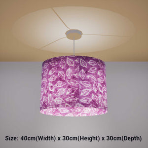 Oval Lamp Shade - P68 - Batik Leaf on Purple, 40cm(w) x 30cm(h) x 30cm(d) - Imbue Lighting
