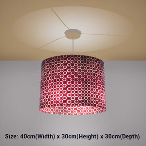 Oval Lamp Shade - P73 - Batik Red Circles, 40cm(w) x 30cm(h) x 30cm(d) - Imbue Lighting