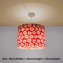Oval Lamp Shade - P76 - Batik Star Flower Red, 40cm(w) x 30cm(h) x 30cm(d) - Imbue Lighting