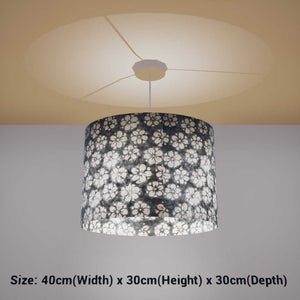 Oval Lamp Shade - P77 - Batik Star Flower Grey, 40cm(w) x 30cm(h) x 30cm(d) - Imbue Lighting