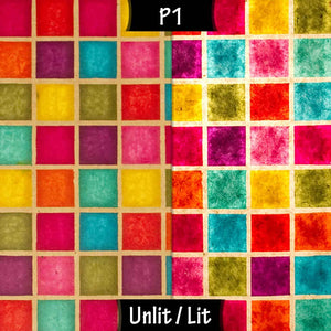 Rectangle Lamp Shade - P01 - Batik Multi Square, 30cm(w) x 20cm(h) x 15cm(d) - Imbue Lighting
