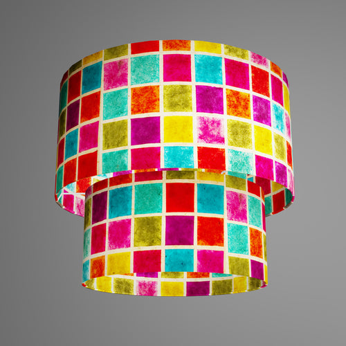 2 Tier Lamp Shade - P01 - Batik Multi Square, 40cm x 20cm & 30cm x 15cm