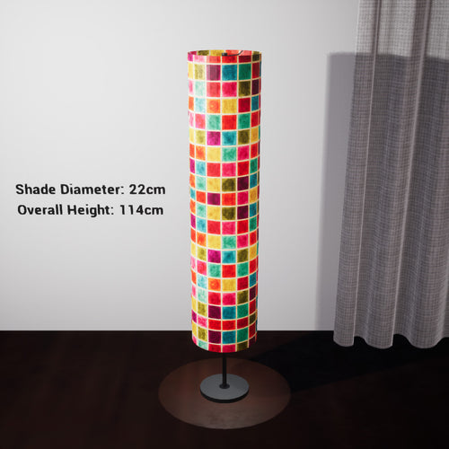 Drum Floor Lamp - P01 - Batik Multi Square, 22cm(d) x 114cm(h) - Imbue Lighting