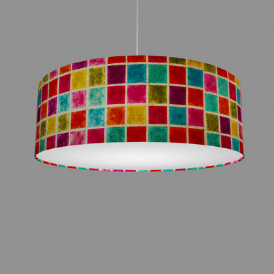 Drum Lamp Shade - P01 - Batik Multi Square, 60cm(d) x 20cm(h)