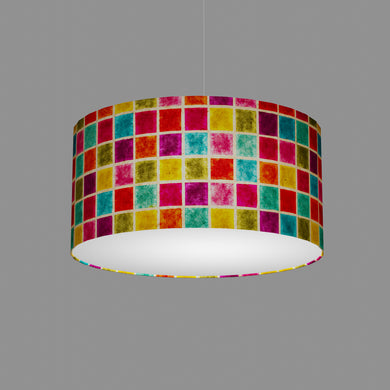 Drum Lamp Shade - P01 - Batik Multi Square, 50cm(d) x 25cm(h)