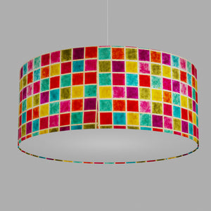 Drum Lamp Shade - P01 - Batik Multi Square, 70cm(d) x 30cm(h)