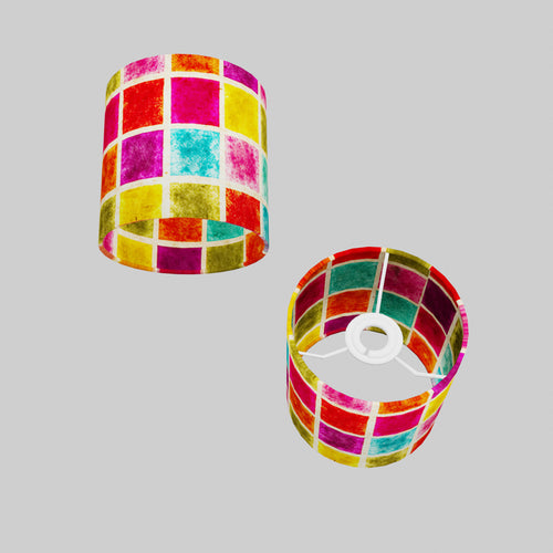 Drum Lamp Shade - P01 - Batik Multi Square, 15cm(d) x 15cm(h)