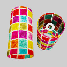 Drum Lamp Shade - P01 - Batik Multi Square, 15cm(d) x 30cm(h)