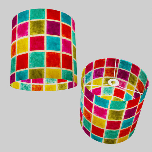 Drum Lamp Shade - P01 - Batik Multi Square, 30cm(d) x 30cm(h)