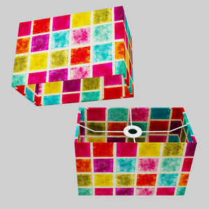 Rectangle Lamp Shade - P01 - Batik Multi Square, 30cm(w) x 20cm(h) x 15cm(d)