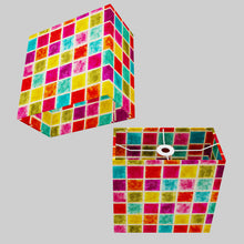 Rectangle Lamp Shade - P01 - Batik Multi Square, 30cm(w) x 30cm(h) x 15cm(d)