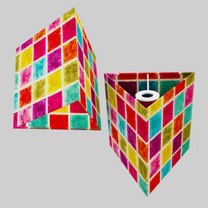 Triangle Lamp Shade - P01 - Batik Multi Square, 20cm(w) x 20cm(h)