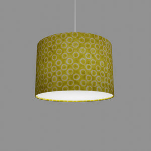Drum Lamp Shade - P02 - Batik Lime Circles, 30cm(d) x 20cm(h)