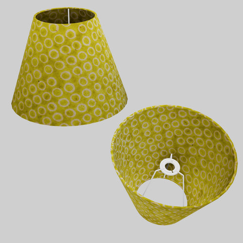 Conical Lamp Shade P02 - Batik Lime Circles, 15cm(top) x 30cm(bottom) x 22cm(height)