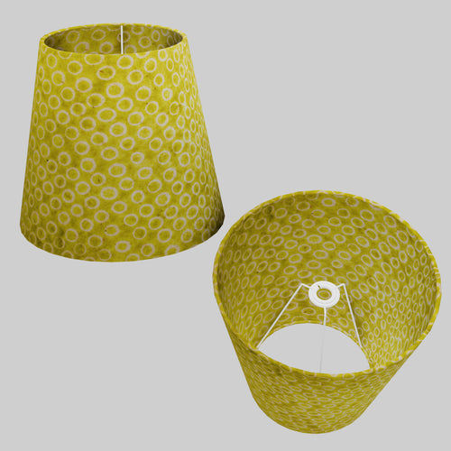 Conical Lamp Shade P02 - Batik Lime Circles, 23cm(top) x 35cm(bottom) x 31cm(height)