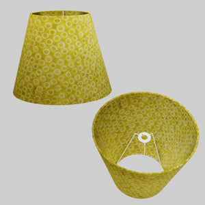 Conical Lamp Shade P02 - Batik Lime Circles, 23cm(top) x 40cm(bottom) x 31cm(height)