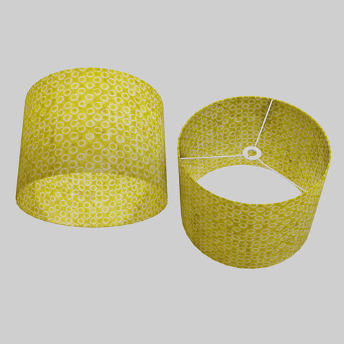 Drum Lamp Shade - P02 - Batik Lime Circles, 40cm(d) x 30cm(h)
