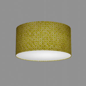 Drum Lamp Shade - P02 - Batik Lime Circles, 50cm(d) x 25cm(h)
