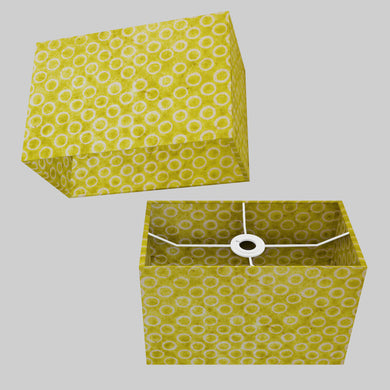 Rectangle Lamp Shade - P02 - Batik Lime Circles, 30cm(w) x 20cm(h) x 15cm(d)