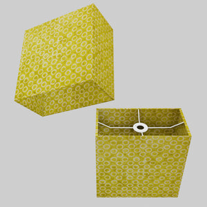 Rectangle Lamp Shade - P02 - Batik Lime Circles, 30cm(w) x 30cm(h) x 15cm(d)