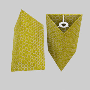 Triangle Lamp Shade - P02 - Batik Lime Circles, 20cm(w) x 30cm(h)
