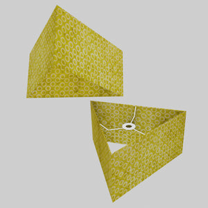 Triangle Lamp Shade - P02 - Batik Lime Circles, 40cm(w) x 20cm(h)