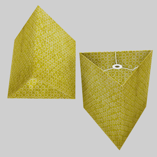 Triangle Lamp Shade - P02 - Batik Lime Circles, 40cm(w) x 40cm(h)
