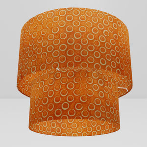 2 Tier Lamp Shade - P03 - Batik Orange Circles, 40cm x 20cm & 30cm x 15cm