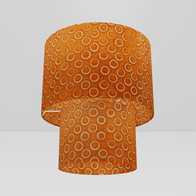 2 Tier Lamp Shade - P03 - Batik Orange Circles, 30cm x 20cm & 20cm x 15cm