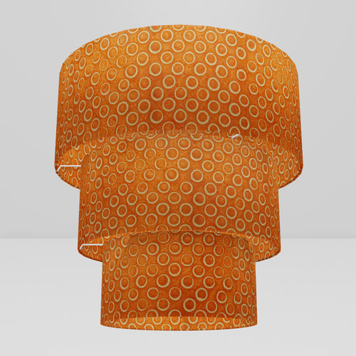 3 Tier Lamp Shade - P03 - Batik Orange Circles, 50cm x 20cm, 40cm x 17.5cm & 30cm x 15cm