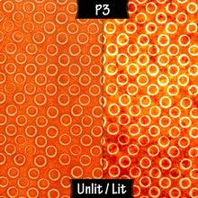 Triangle Lamp Shade - P03 - Batik Orange Circles, 40cm(w) x 20cm(h) - Imbue Lighting