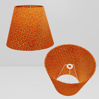 Conical Lamp Shade P03 - Batik Orange Circles, 23cm(top) x 40cm(bottom) x 31cm(height)