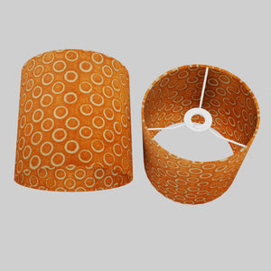Drum Lamp Shade - P03 - Batik Orange Circles, 20cm(d) x 20cm(h)