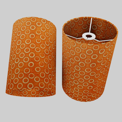 Drum Lamp Shade - P03 - Batik Orange Circles, 20cm(d) x 30cm(h)