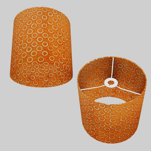 Drum Lamp Shade - P03 - Batik Orange Circles, 25cm x 25cm