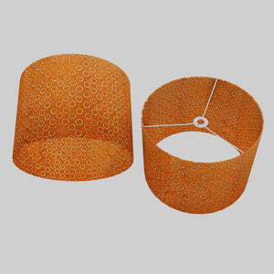 Drum Lamp Shade - P03 - Batik Orange Circles, 40cm(d) x 30cm(h)