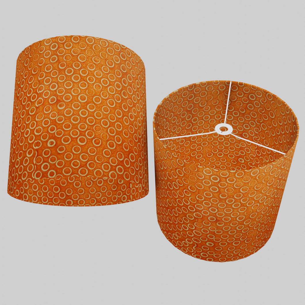 Drum Lamp Shade - P03 - Batik Orange Circles, 40cm(d) x 40cm(h)