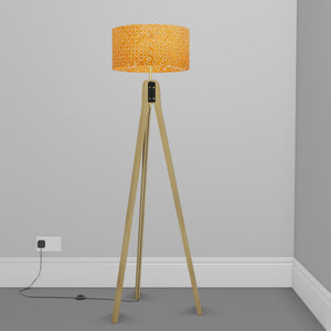Oak Tripod Floor Lamp - P03 - Batik Orange Circles