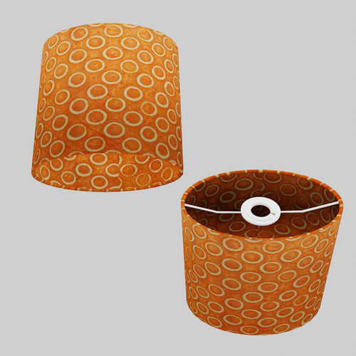 Oval Lamp Shade - P03 - Batik Orange Circles, 20cm(w) x 20cm(h) x 13cm(d)