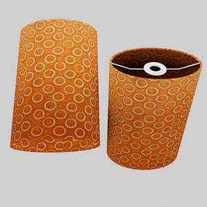 Oval Lamp Shade - P03 - Batik Orange Circles, 20cm(w) x 30cm(h) x 13cm(d)