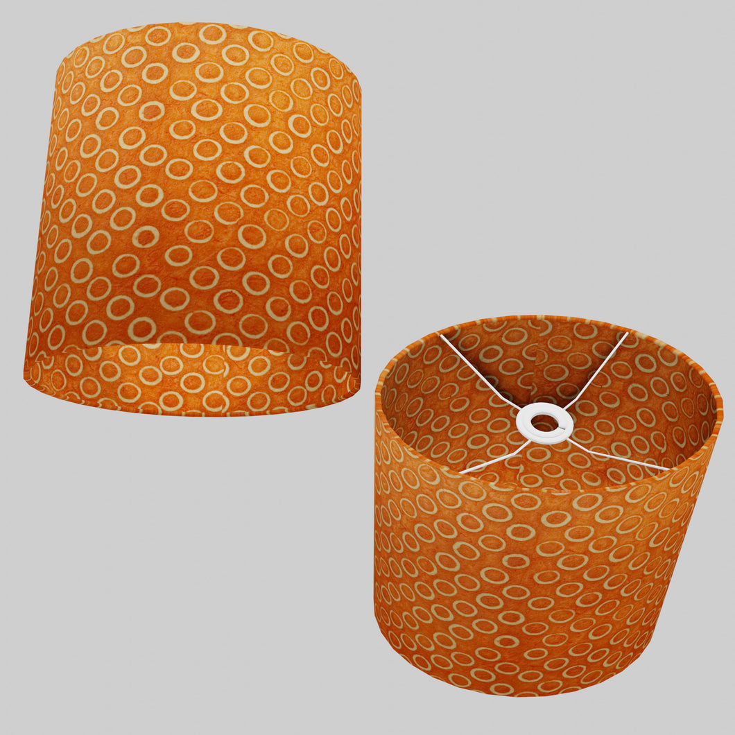 Oval Lamp Shade - P03 - Batik Orange Circles, 30cm(w) x 30cm(h) x 22cm(d)