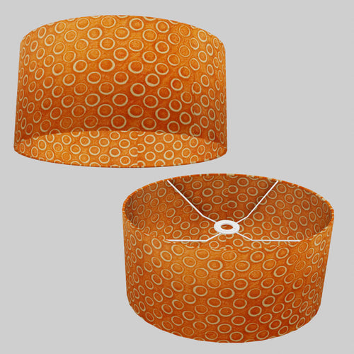 Oval Lamp Shade - P03 - Batik Orange Circles, 40cm(w) x 20cm(h) x 30cm(d)