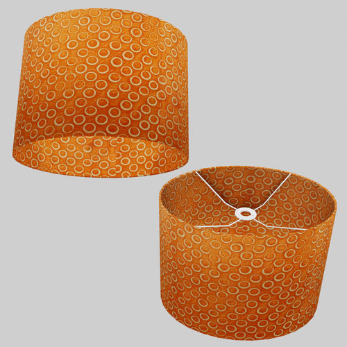 Oval Lamp Shade - P03 - Batik Orange Circles, 40cm(w) x 30cm(h) x 30cm(d)