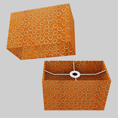Rectangle Lamp Shade - P03 - Batik Orange Circles, 30cm(w) x 20cm(h) x 15cm(d)