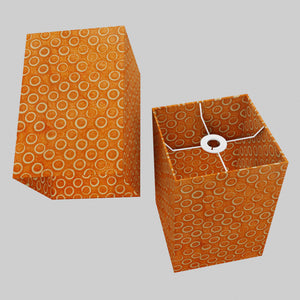 Square Lamp Shade - P03 - Batik Orange Circles, 20cm(w) x 30cm(h) x 20cm(d)