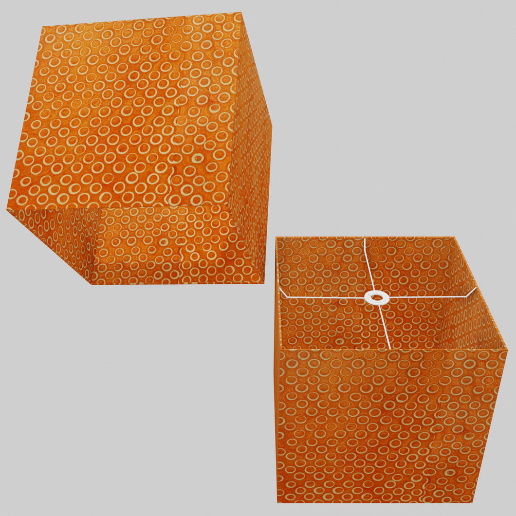 Square Lamp Shade - P03 - Batik Orange Circles, 40cm(w) x 40cm(h) x 40cm(d)
